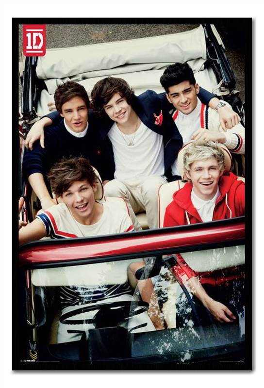 Framed-One-Direction-In-Car-Large-Maxi-Poster-Ready-To-Hang-Frame