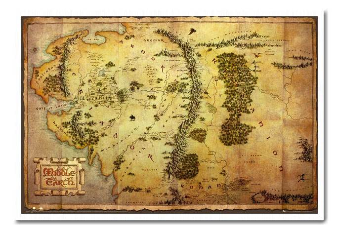 Framed-The-Hobbit-Movie-Map-Poster-Ready-To-Hang-Frame