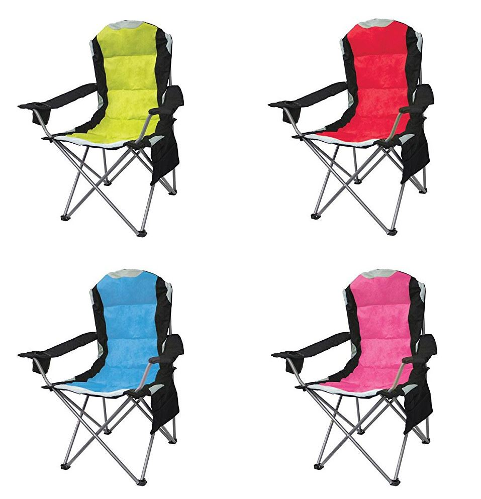 Mapleton Heavy Duty Padded Folding Camping Directors Chair Cup Holder Portabl