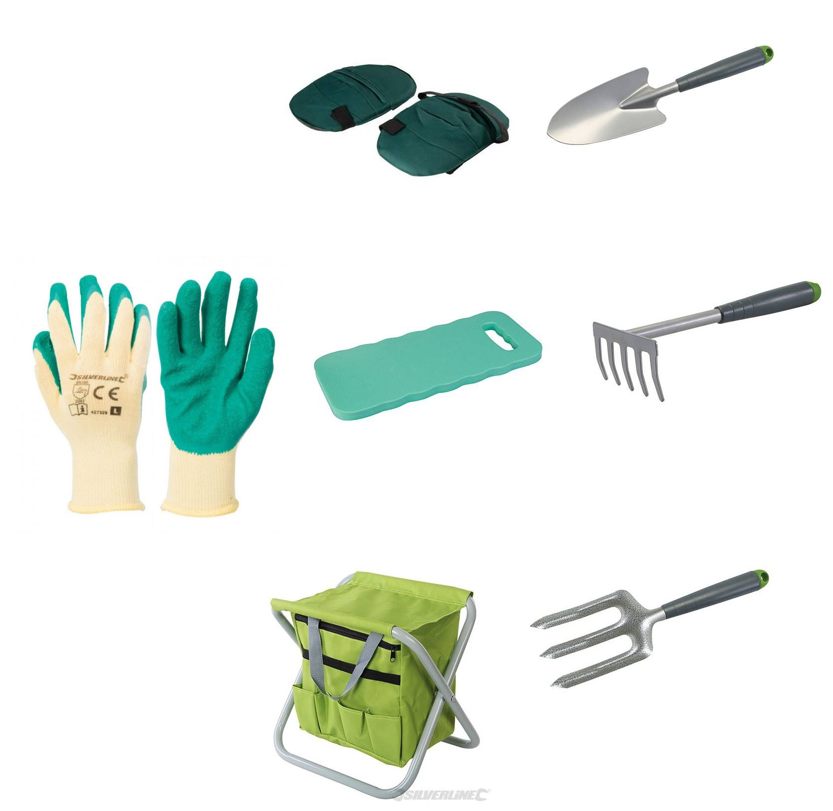 Gardening planting hand tools set and tool bag stool knee for Tools and equipment in planting