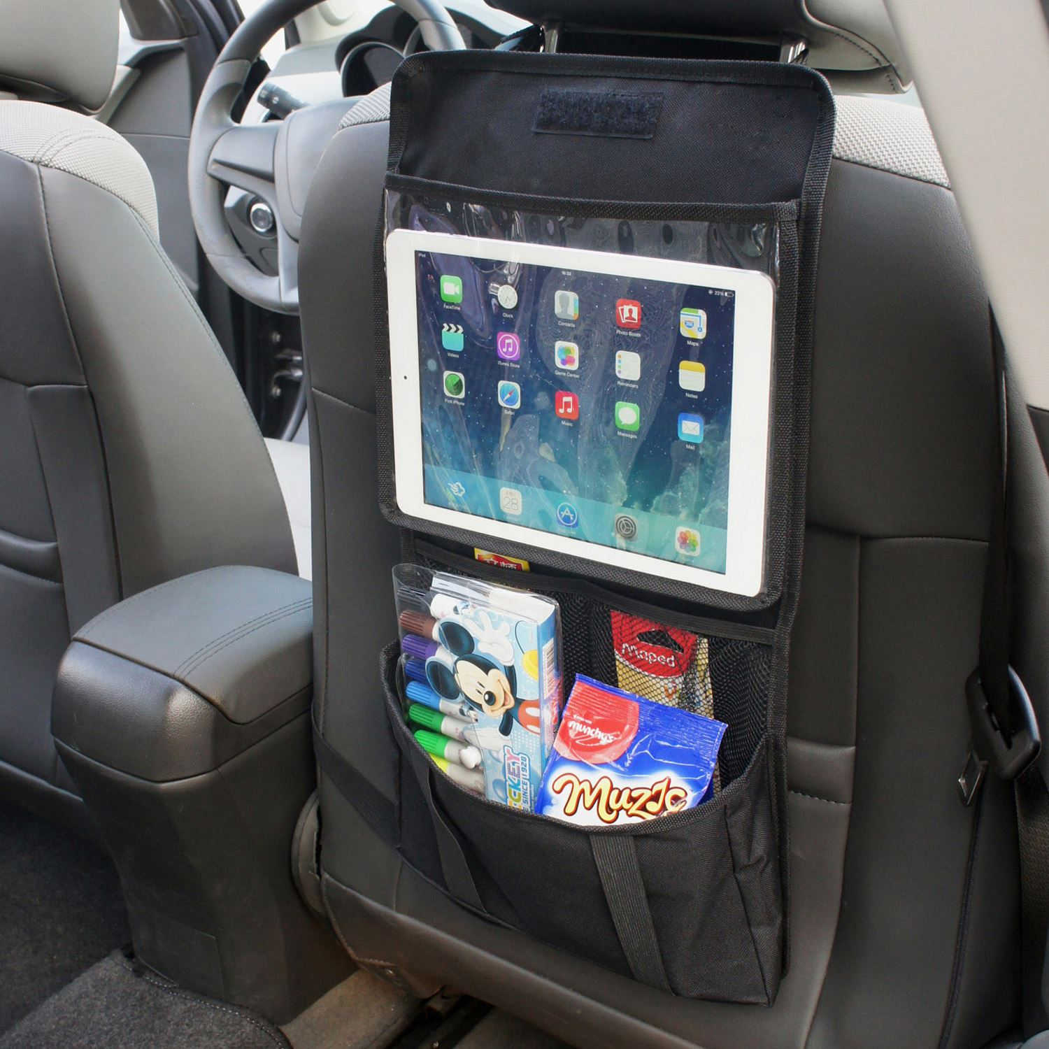 back seat car organiser with tablet holder travel ipad. Black Bedroom Furniture Sets. Home Design Ideas