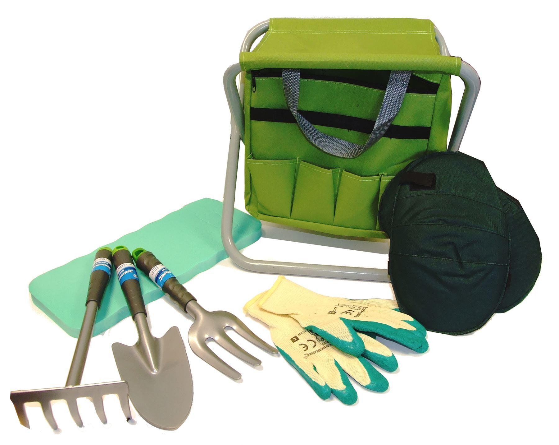 Gardening Planting Hand Tools Set And Tool Bag Stool Knee