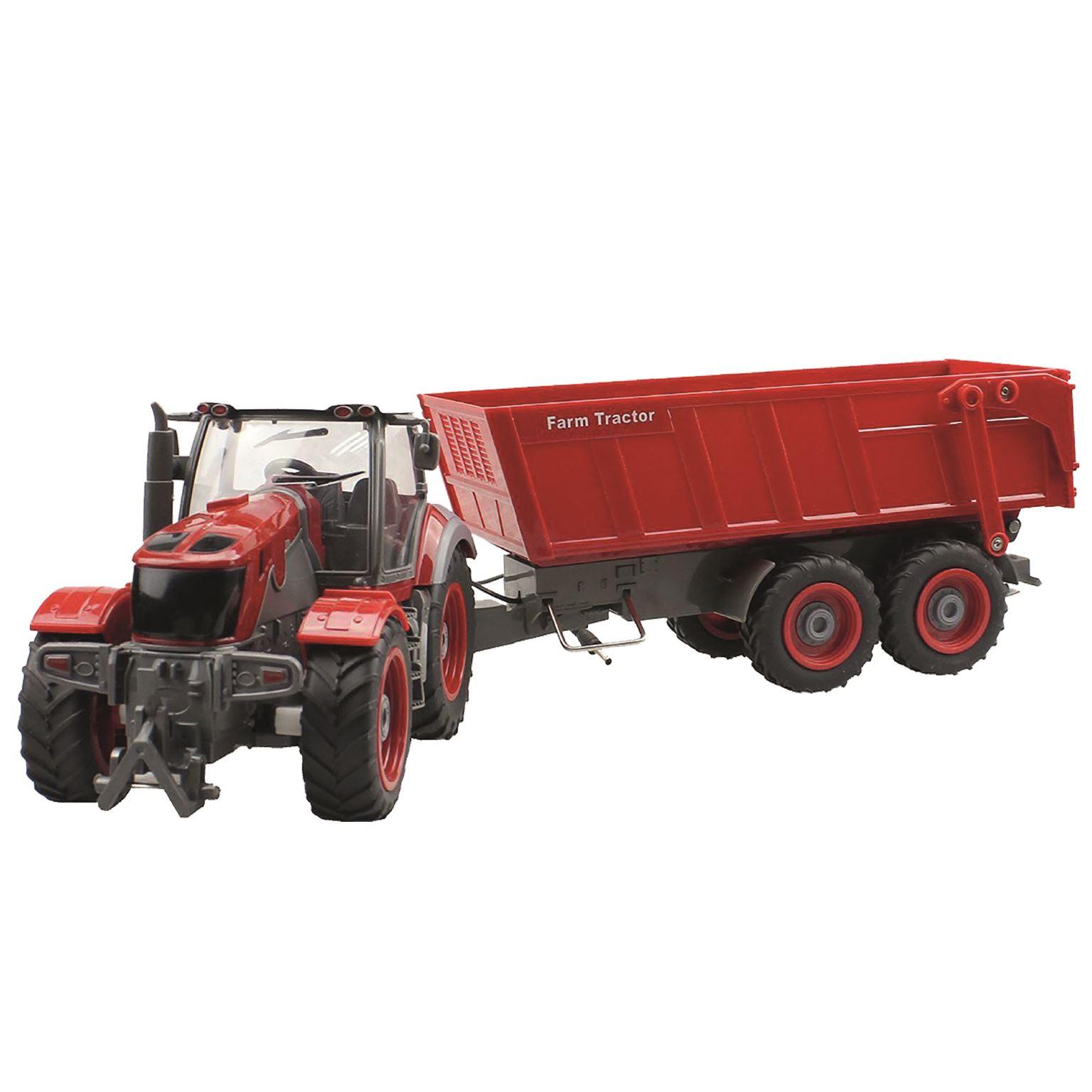 Remote Control Tractor Trailer Trucks : Large farm tractor plus trailer remote control rc toy