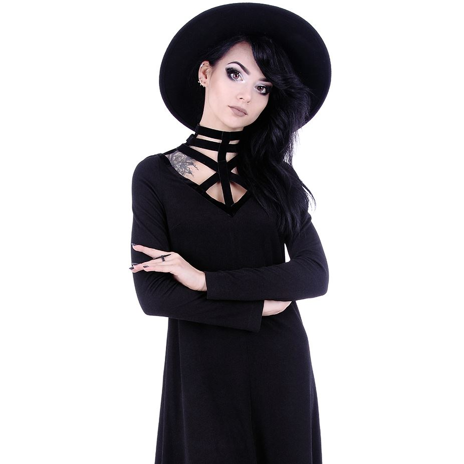 Restyle-Futuristic-Geometric-Velvet-Strap-Long-Black-Witch-Tunic-Dress