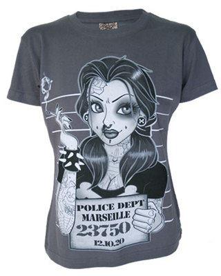 Darkside Clothing Belle Rock & Roll Tattoo Bad Girl Police Mugshot Beast Tshirt