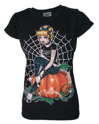 Darkside Clothing Cinders Rock & Roll Tattoo Cinderella & Pumpkin Web Tshirt