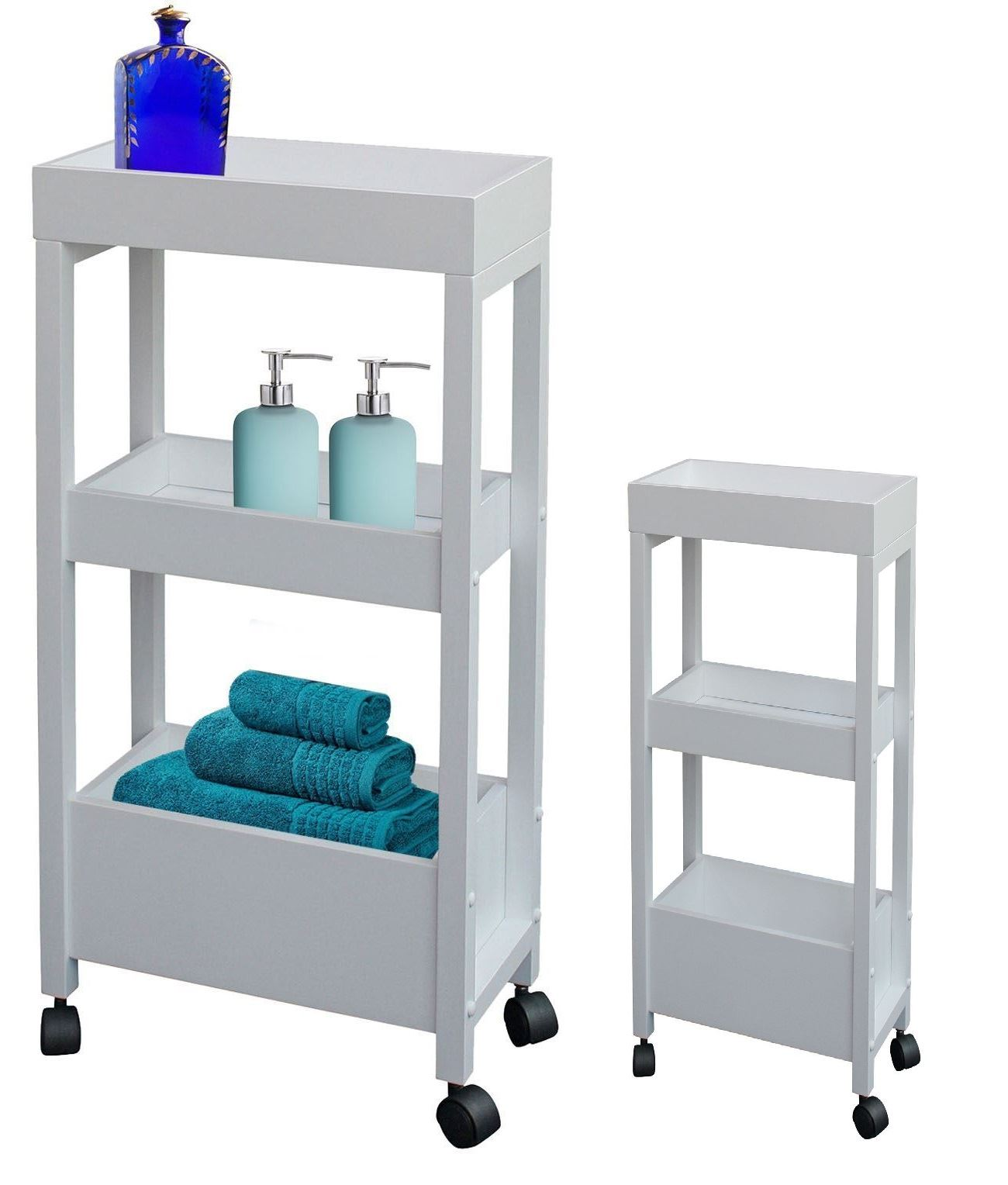 Three Tier Bathroom Stand: WHITE 3 TIER WOODEN STORAGE TROLLEY KITCHEN BATHROOM
