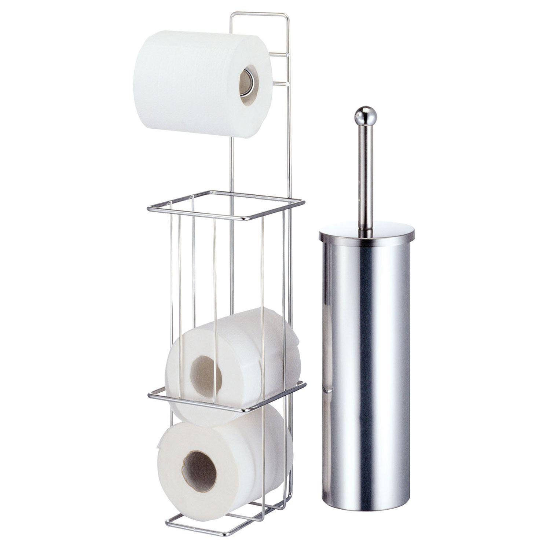 New Free Standing Chrome Toilet Roll Holder Brush