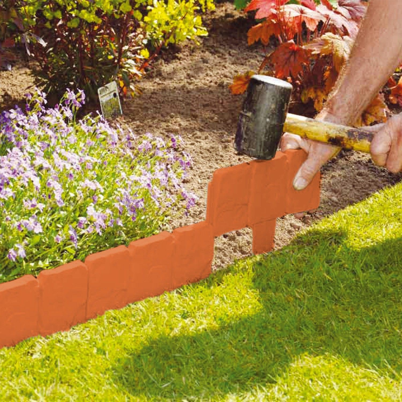 Stone brick cobbled effect plastic garden edging plant for Garden edging