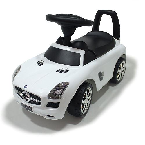 Push along ride on mercedes benz toy car white red kids for Mercedes benz ride on toy car