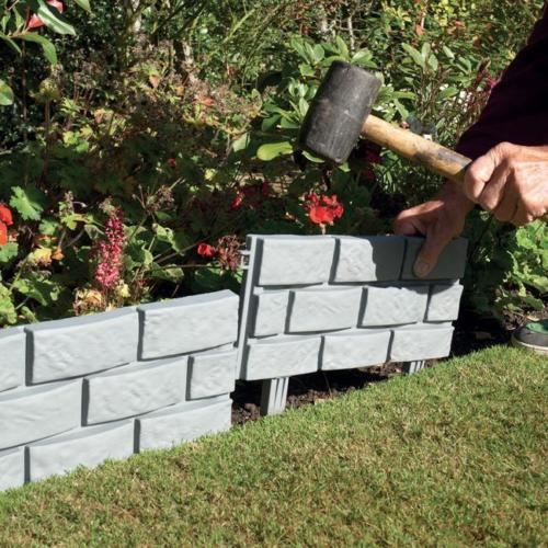 Stone brick cobbled effect plastic garden edging plant for Brique pour bordure de jardin