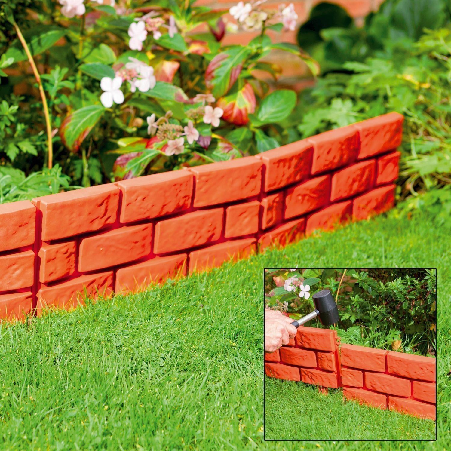 Stone Brick Cobbled Effect Plastic Garden Edging Plant
