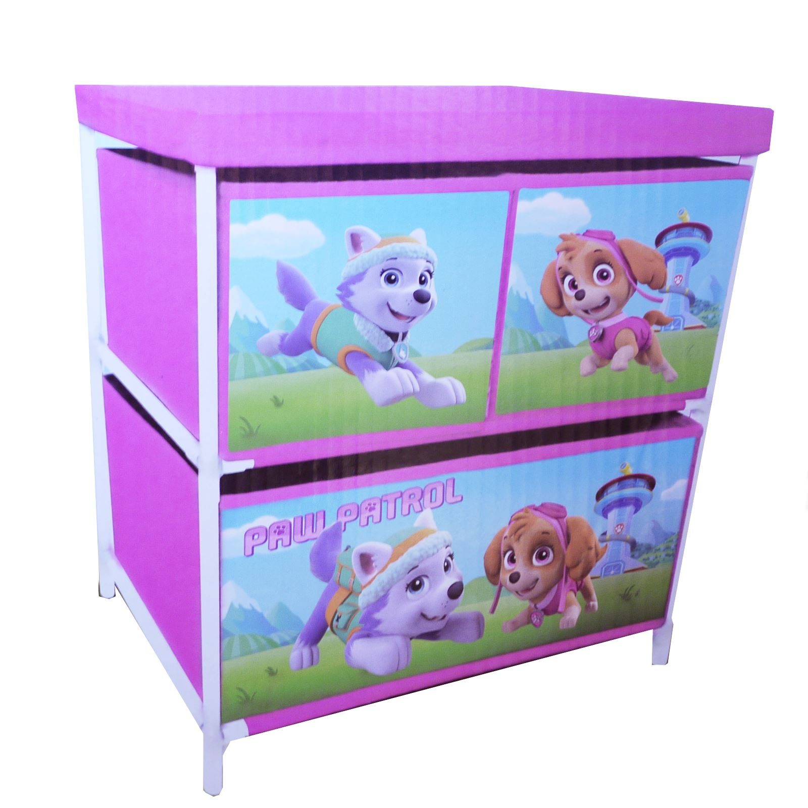 Kids Toy Storage 3 Drawer Cabinet Paw Patrol Girls Boys