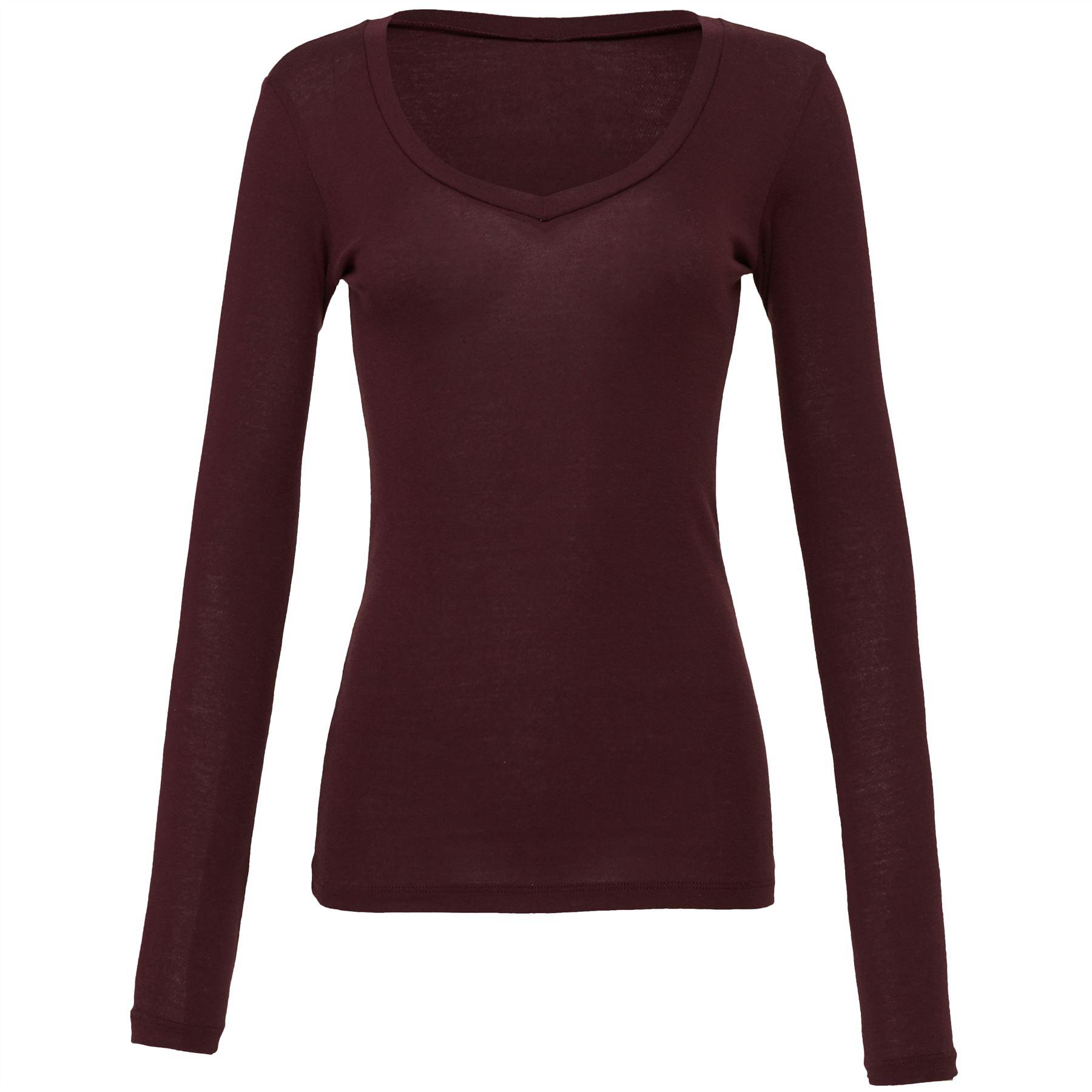 Bella canvas womens sheer mini rib long sleeve v neck t for Long length long sleeve t shirts
