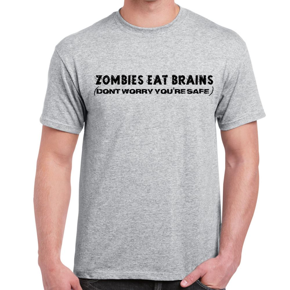 Mens Funny Sayings Slogans T Shirts-Zombies Eat Brains tshirt