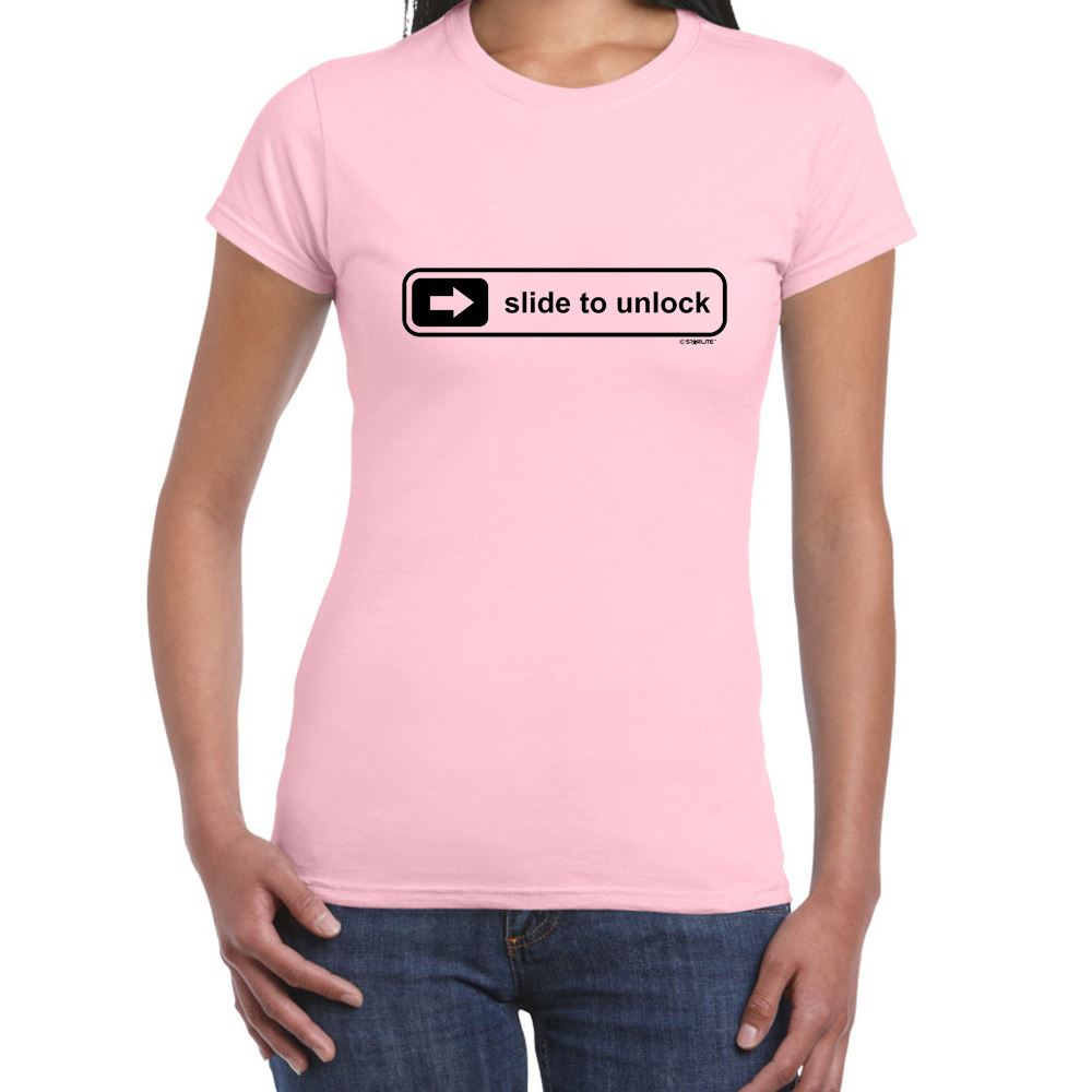About womens funny sayings slogans t shirts slide to unlock tshirt