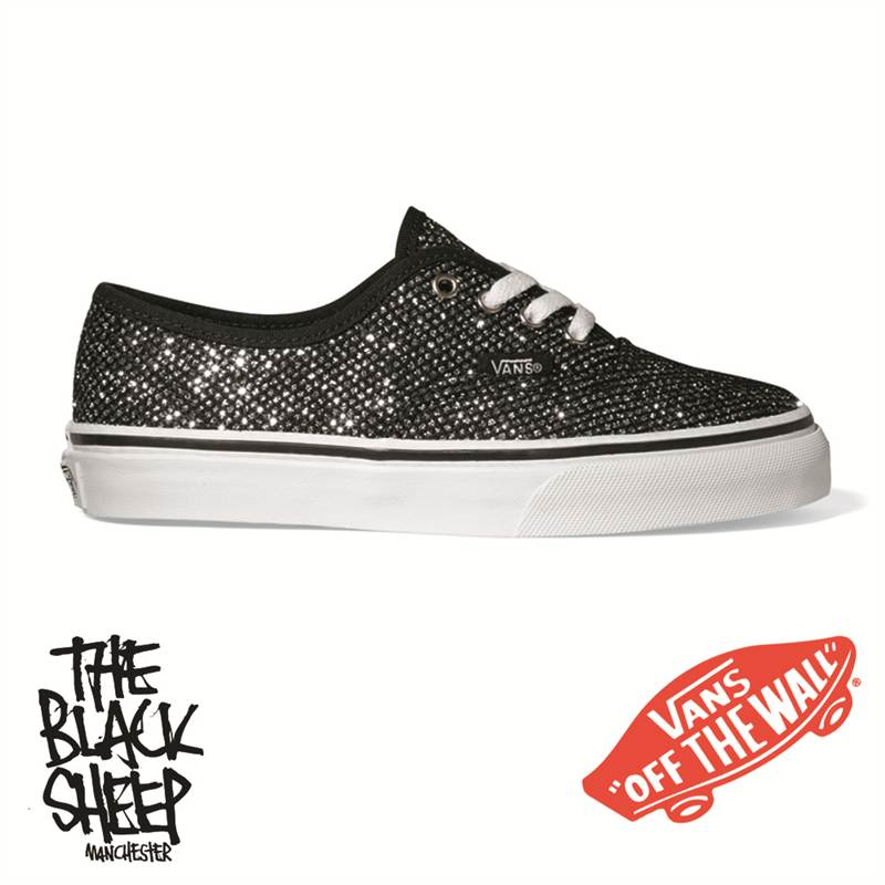 chaussure vans k authentic noir toile paillette argente lacet blanc vn 0oknl8j ebay. Black Bedroom Furniture Sets. Home Design Ideas