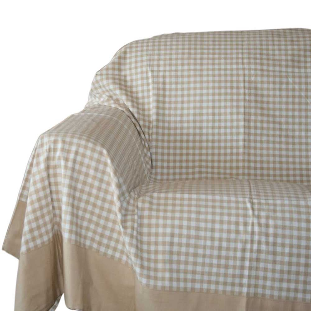 Gingham Check Beige White Extra Large Cotton Bed Sofa