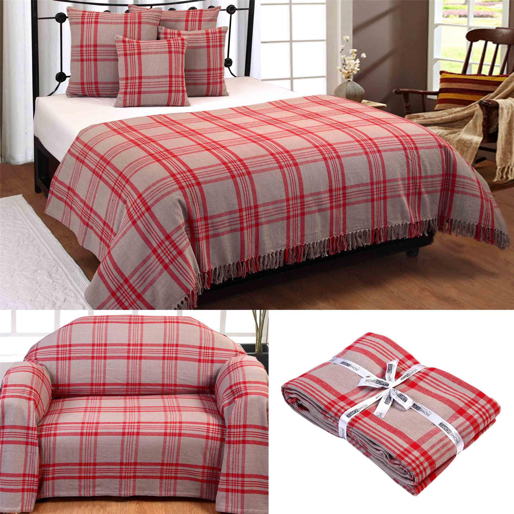 cotton extra large tartan throws for sofas bed throw. Black Bedroom Furniture Sets. Home Design Ideas