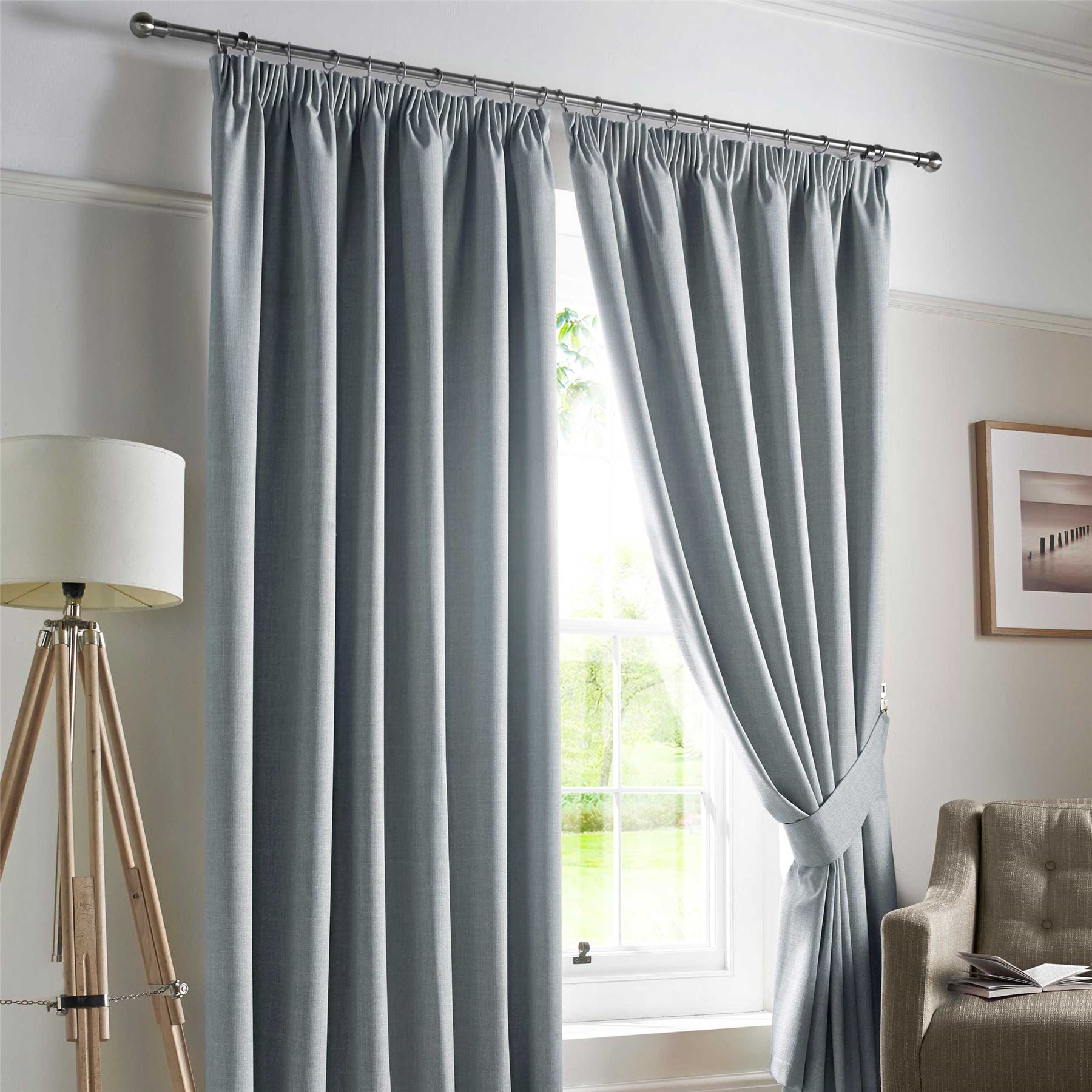 pencil pleat blackout ready made curtains pair fully lined. Black Bedroom Furniture Sets. Home Design Ideas