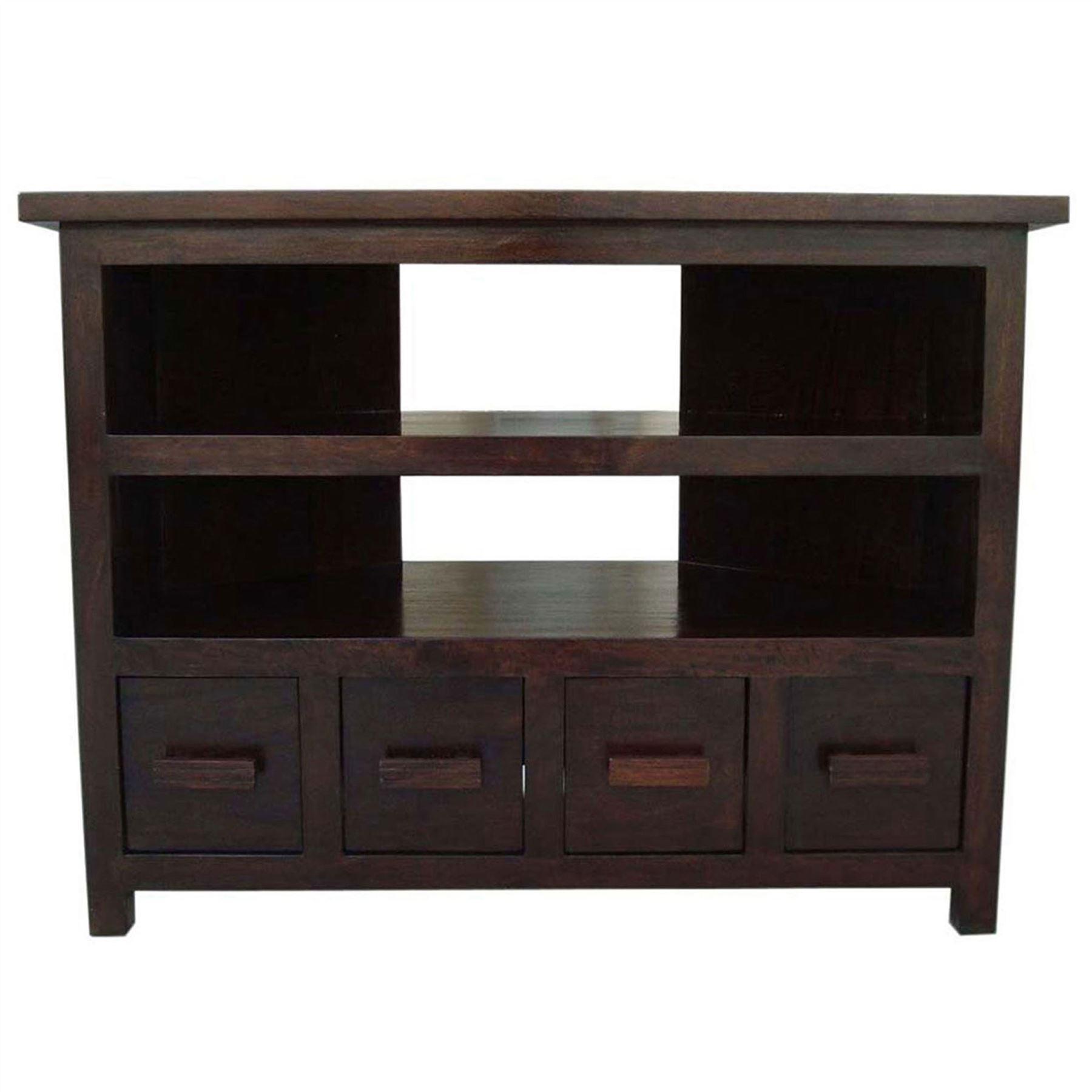 Mangat solid dark wood indian furniture tv unit table for Indian furniture