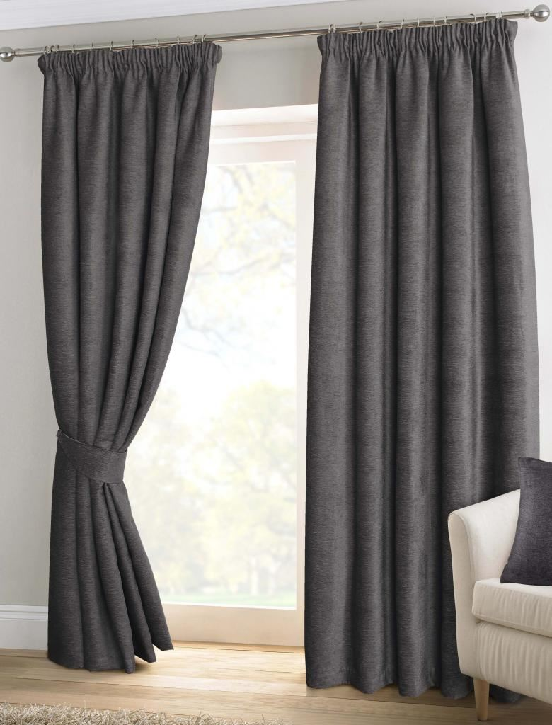 Pewter Grey Chenille Pencil Pleat Lined Thermal Ready Made Curtains Ebay