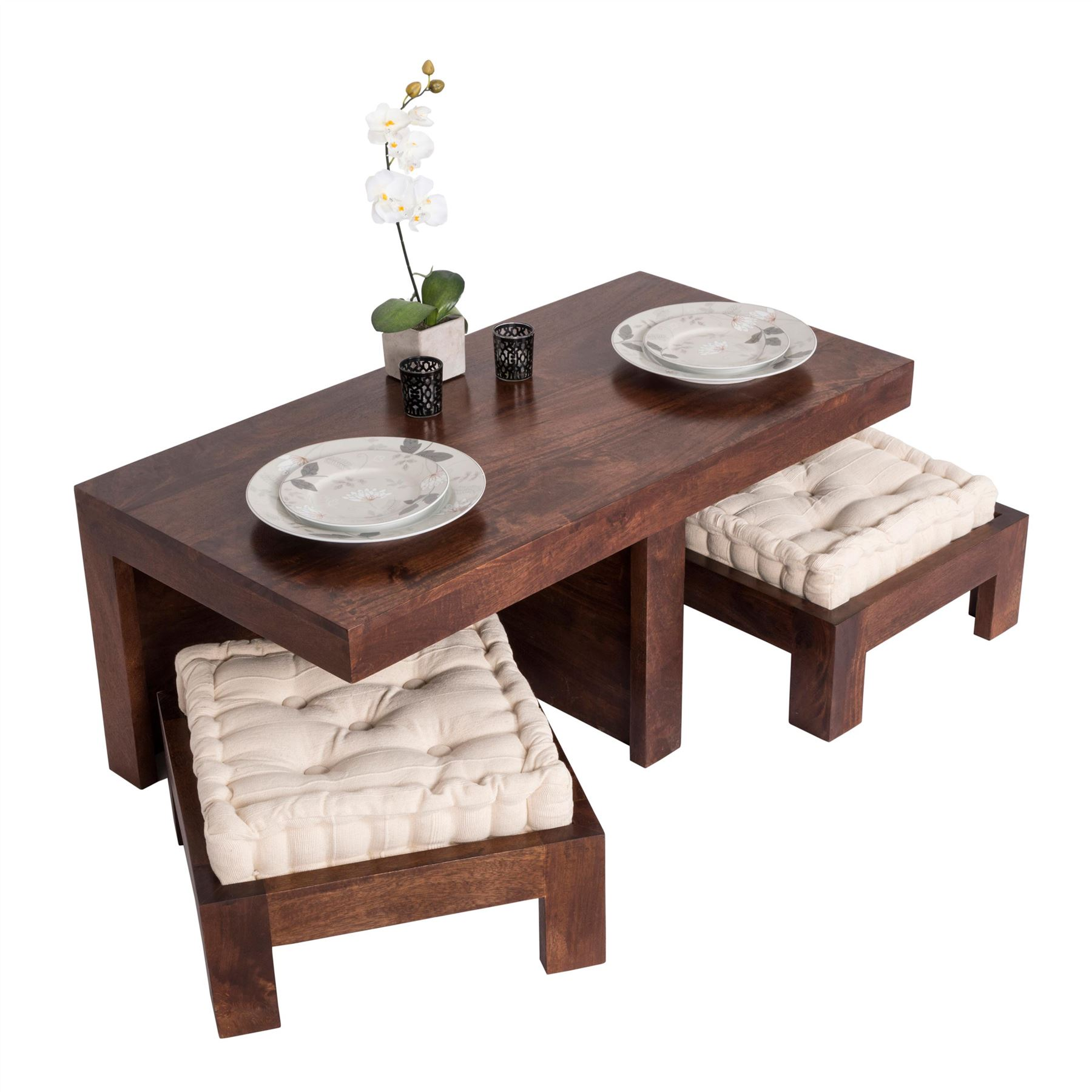 Dark Shade Dakota pact Coffee Table Set with Two Stools Seat