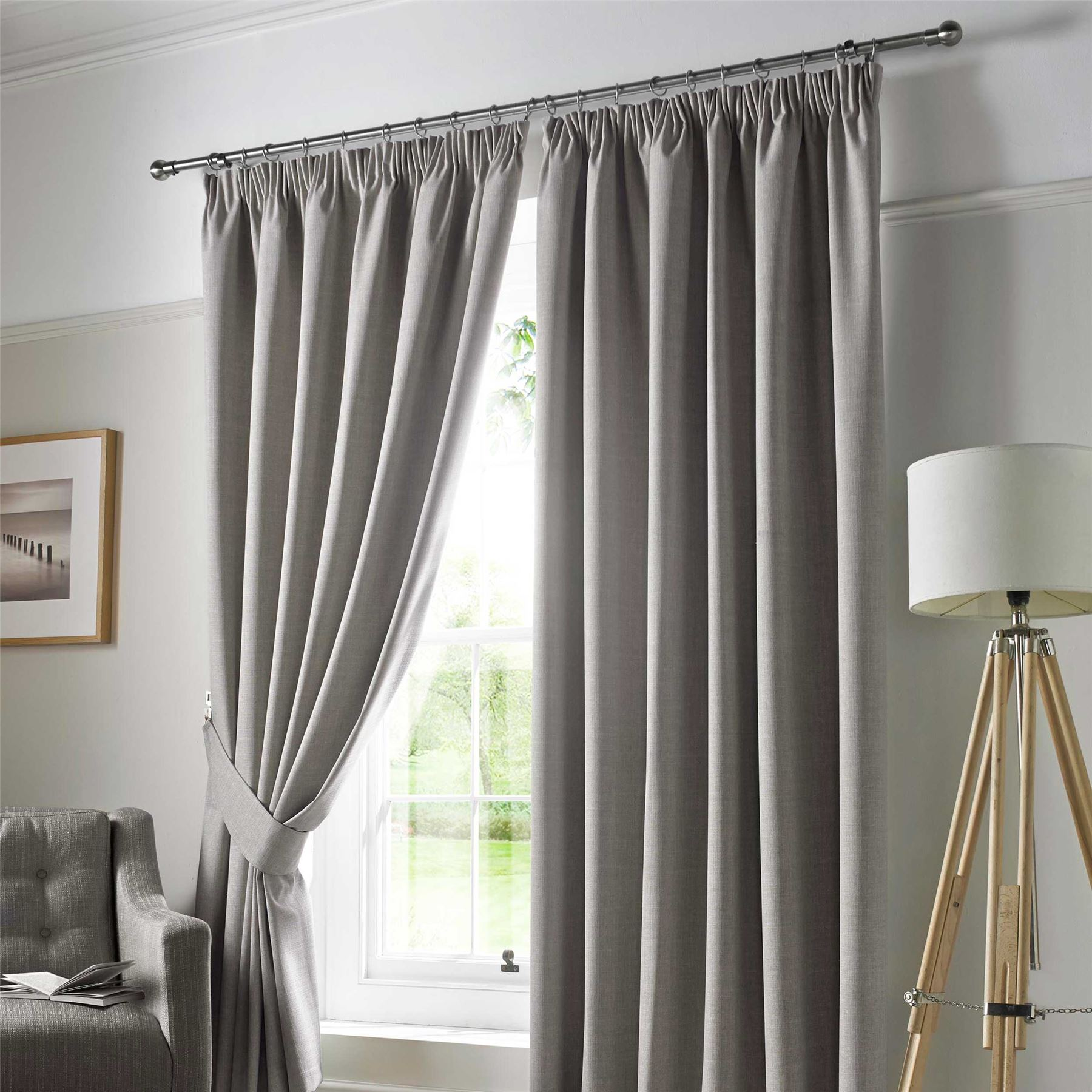 Blue Gray Blackout Curtains: Pencil Pleat Blackout Ready Made Curtains Pair Fully Lined