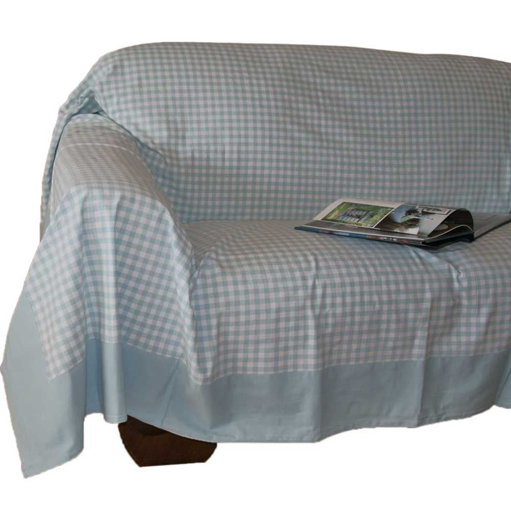 Gingham Check Extra Large Cotton Sofa Throw Bed Covers Settee Throws Bedspreads