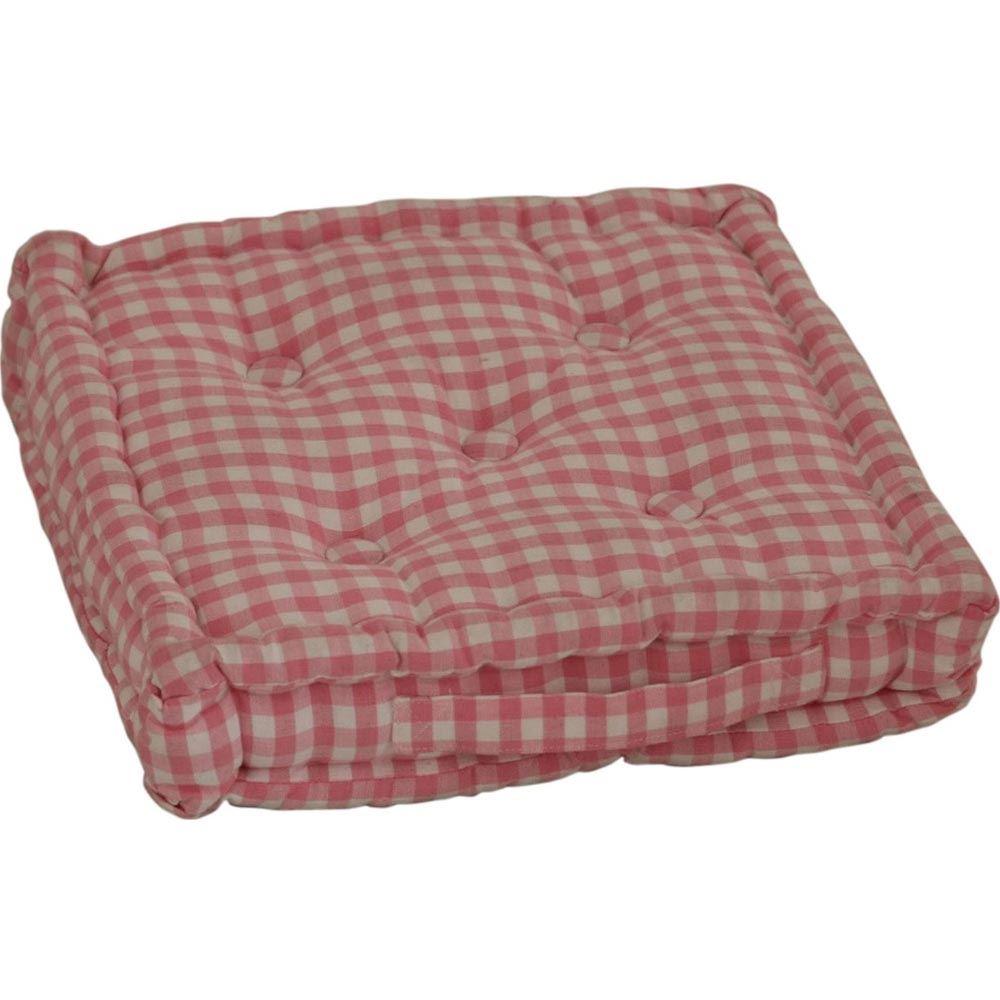 Gingham Check Floor Cushions Outdoor Garden Dining