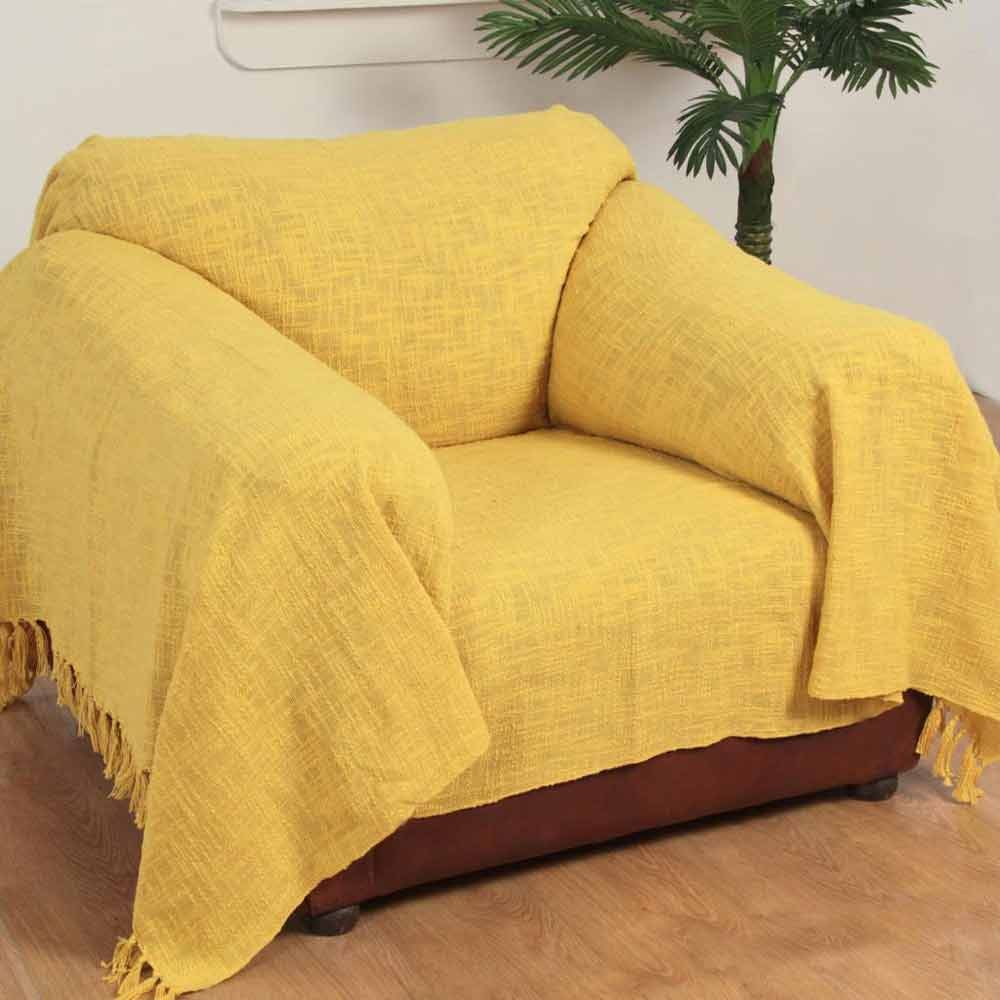 Yellow handwoven large throw bedspread sofa bed blanket for Sofa throws large