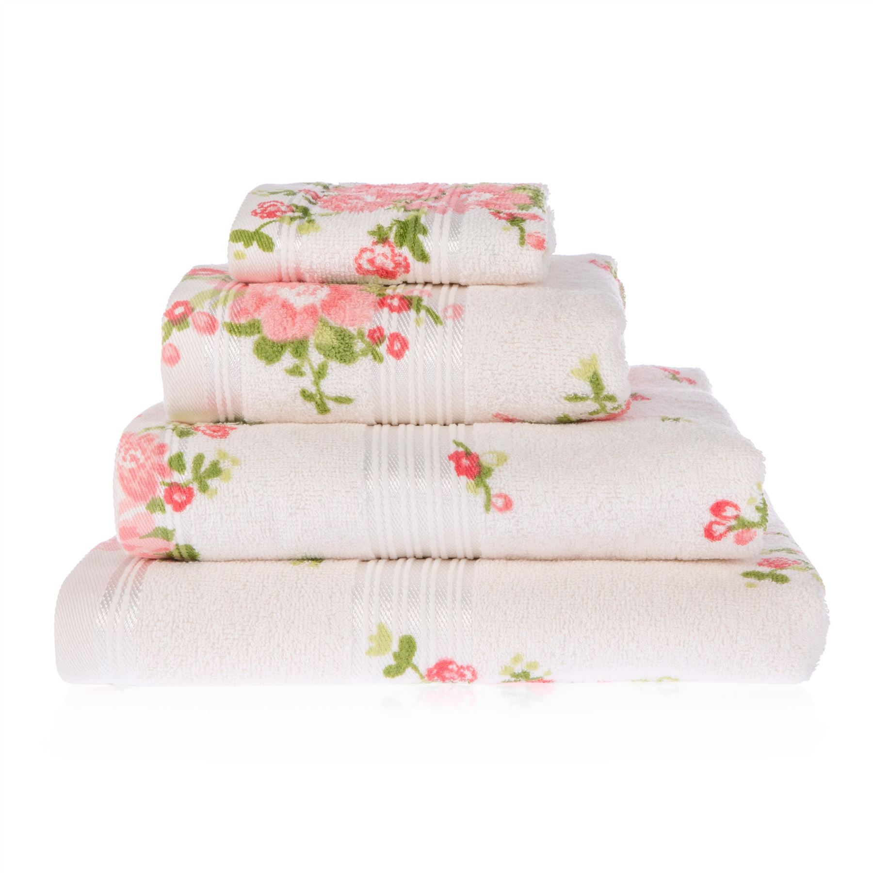 Rose floral printed 100 cotton face hand bath towel for How to get towels white