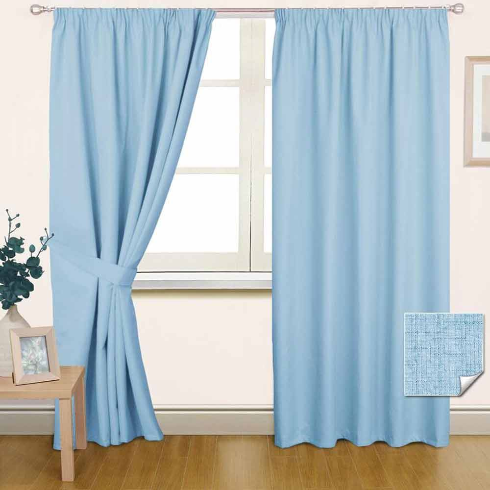 Thermal Blackout Lined Plain Blue Pencil Pleat Curtains Ready Made Curtain Pair Ebay