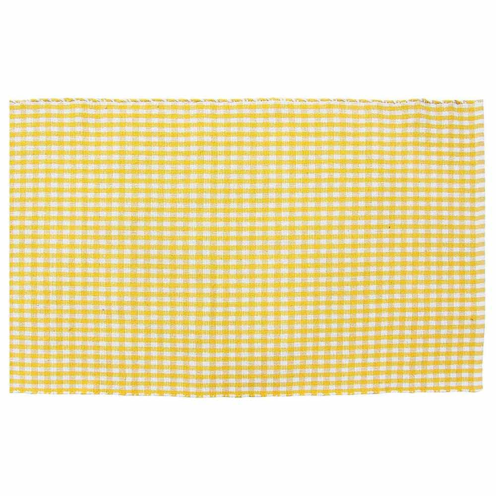 Washable Cotton Gingham Checked Rugs Yellow White Check Carpet Kids Bath Mats