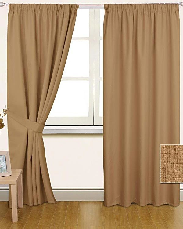 Thermal Blackout Lined Plain Latte Pencil Pleat Curtains Ready Made Curtain Pair Ebay