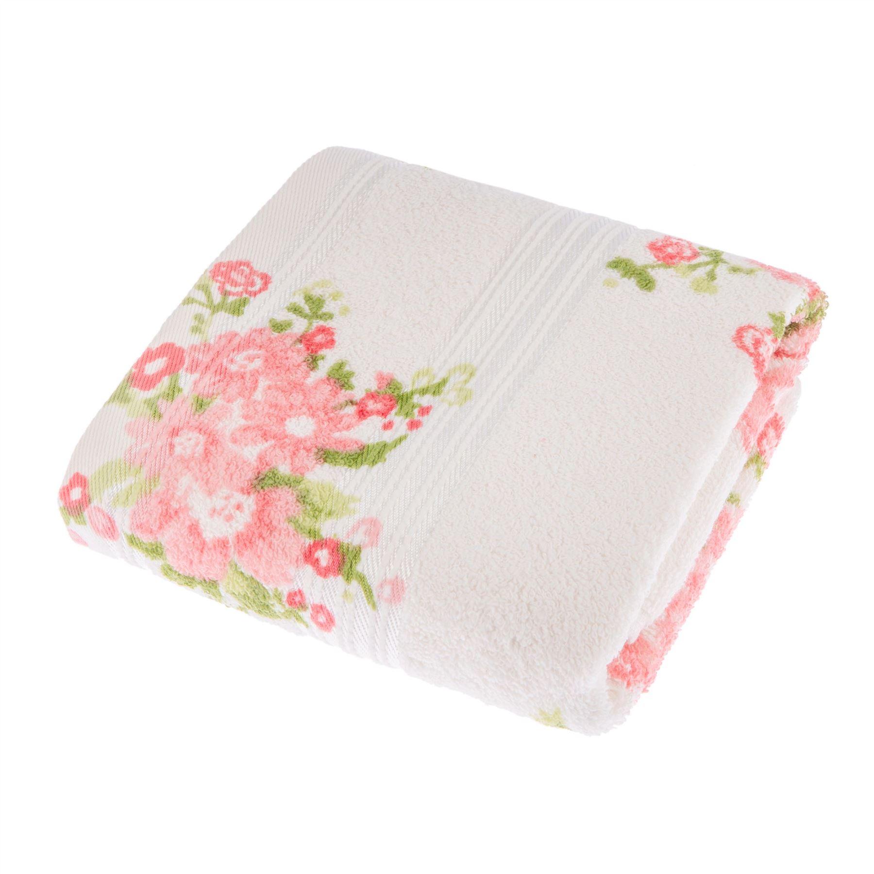 Rose Floral Printed 100 Cotton Face Hand Bath Towel Bath Sheet White Cream Ebay