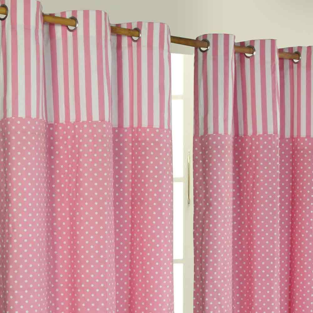 Polka Dots Ready Made Eyelet Curtain Pink White Cotton