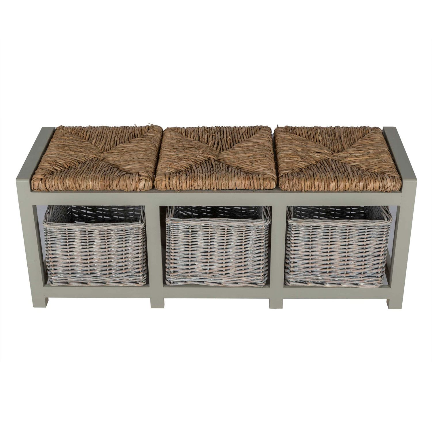 grey wooden bench with wicker baskets two three seater storage unit ebay. Black Bedroom Furniture Sets. Home Design Ideas