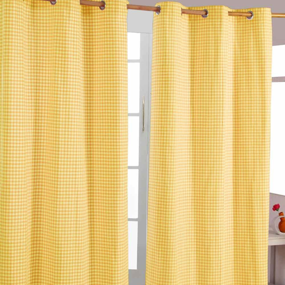 Gingham eyelet ready made curtain beige blue pink yellow for Kids curtain company