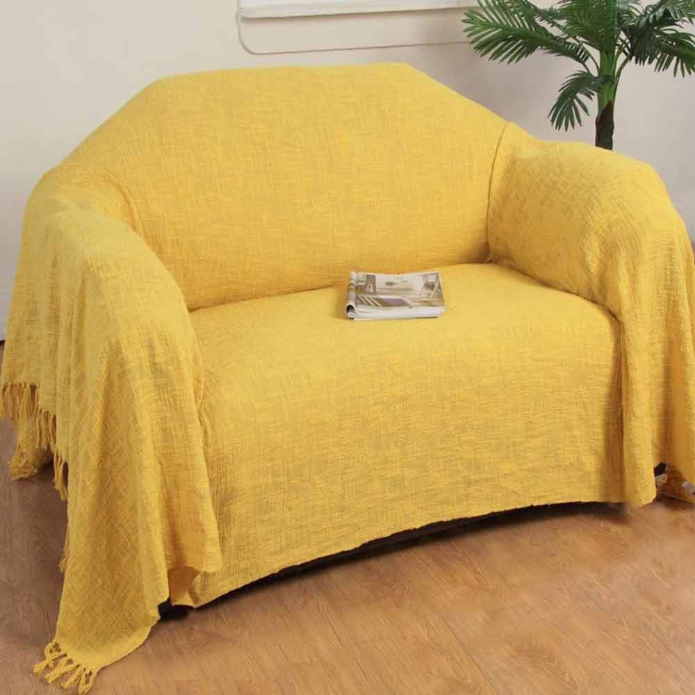 Ochre yellow cotton nirvana extra large throws for sofas for Sofa throws large