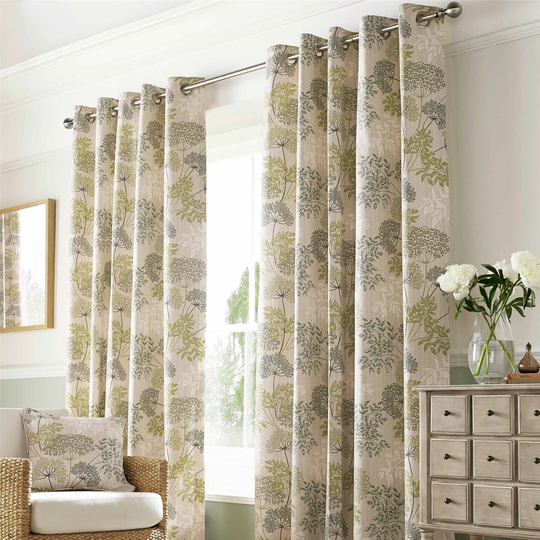 Living Room Ready Made Curtains Botanical Floral Ready Made Curtains Pair Fully Lined Eyelet Style