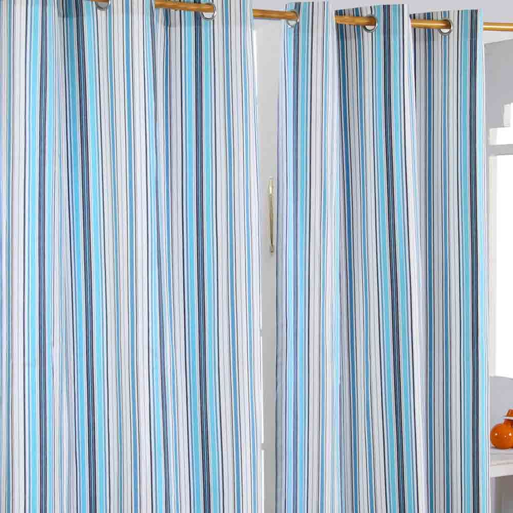 New england striped ready made eyelet curtain blue cotton for Kids curtain company