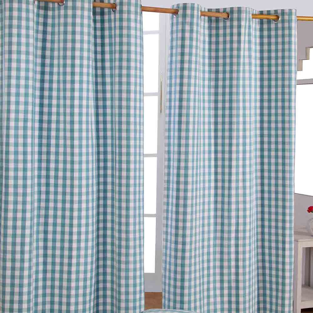 Block Check Cotton Ready Made Eyelet Curtains Blue Pink