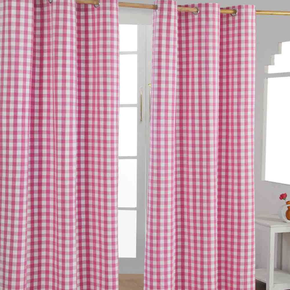 Check eyelet ready made curtain blue green pink orange for Kids curtain company