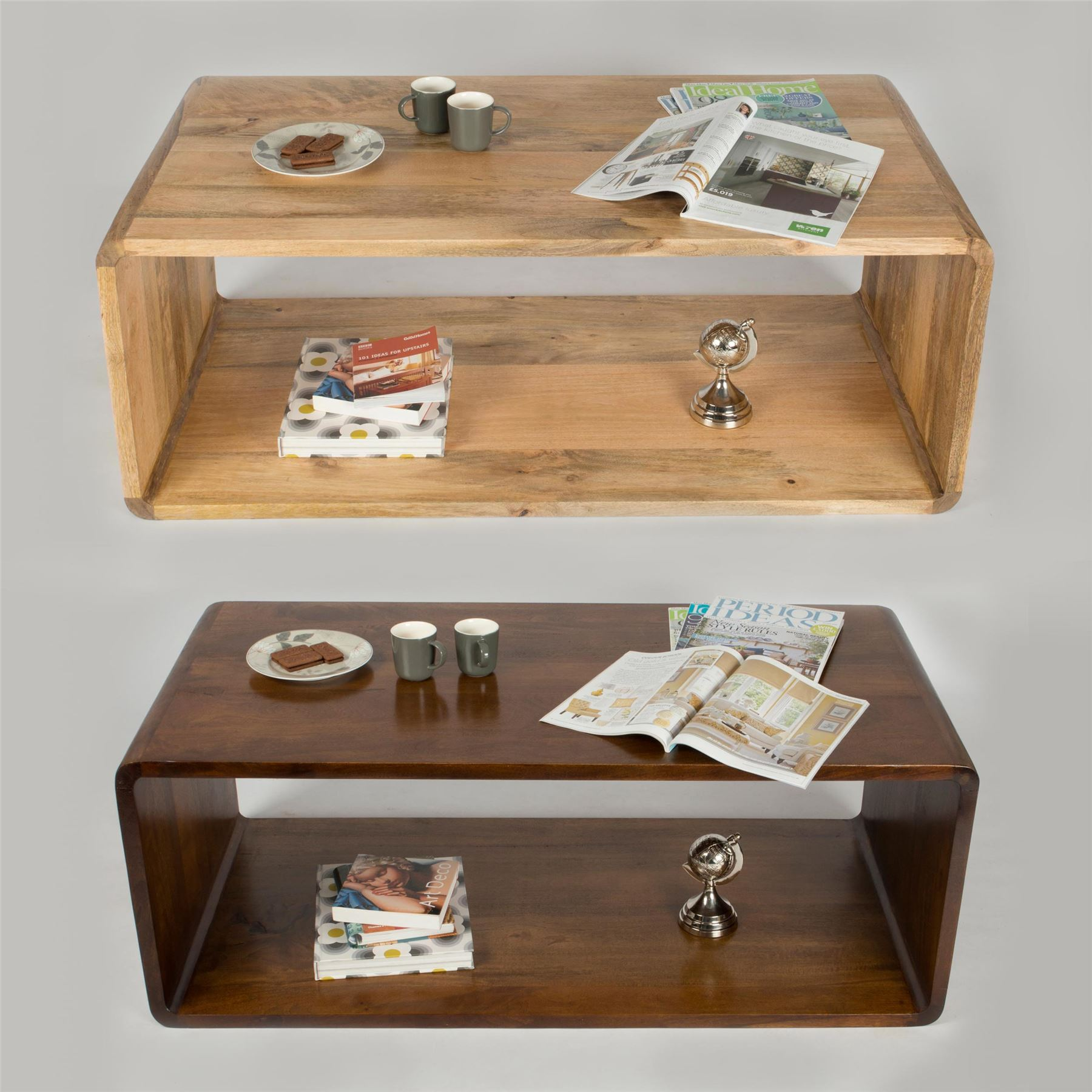 Rectangular Cube Shaped Coffee Table, Hollow Curved Edge