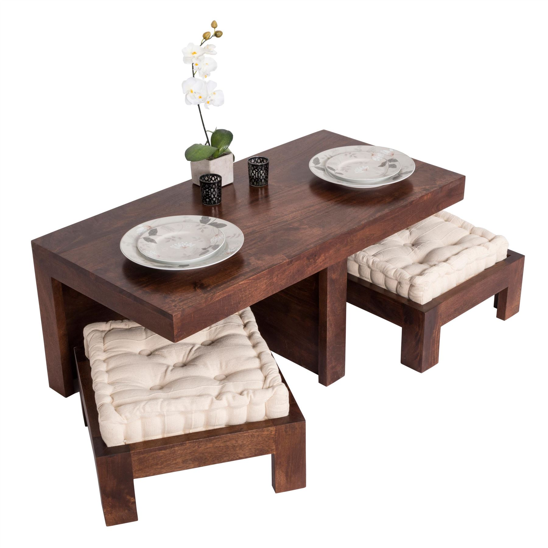 Dark shade dakota compact coffee table set with two stools for Coffee table with stools underneath