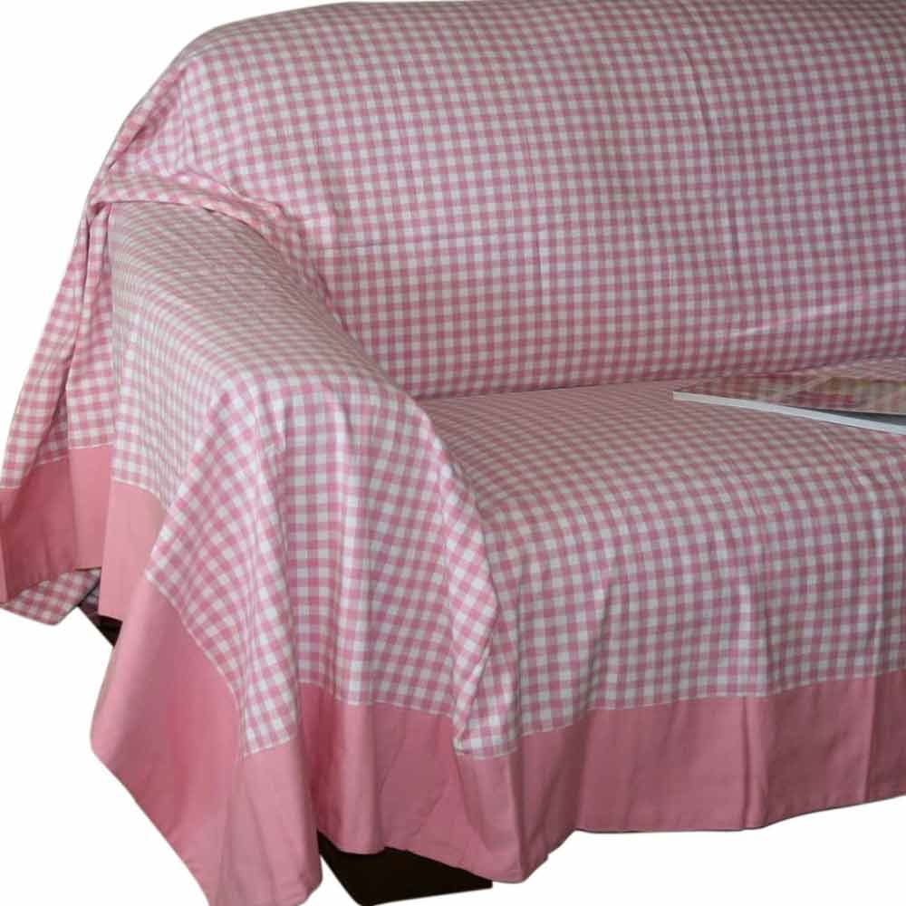 Gingham check extra large cotton sofa throw bed covers for Sofa throws large