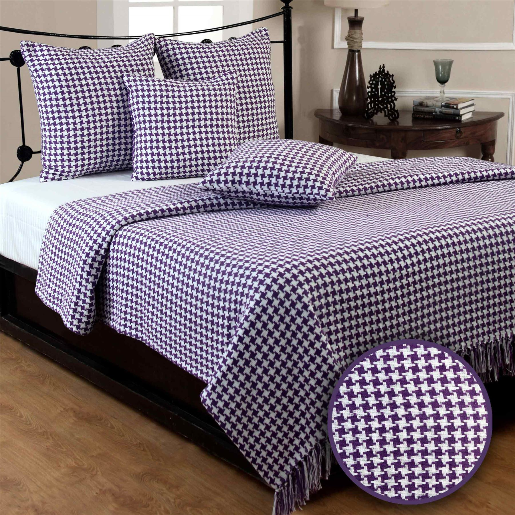 Houndstooth Cotton Check Extra Large Sofa Bed Throws