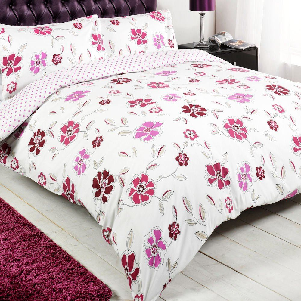 Floral pois rose blanc r versible simple ensemble for Housse de couette rose