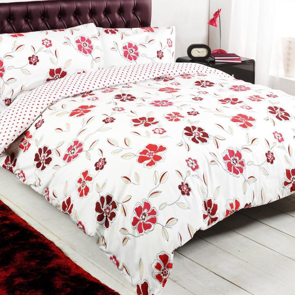 floral polka dot red white reversible king duvet quilt cover bedding set ebay. Black Bedroom Furniture Sets. Home Design Ideas